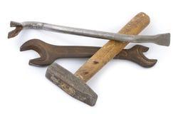 Пулер ногтя, молоток, ключ стоковая фотография