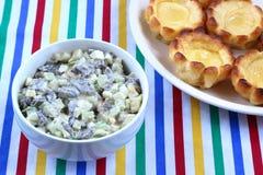 Пудинг и салат Йоркшира Стоковое Фото