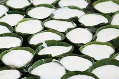 Пудинг с отбензиниванием кокоса десерт тайский Стоковое Изображение
