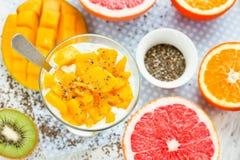 Пудинг chia манго с свежими цитрусовыми фруктами для завтрака, dietar Стоковые Изображения