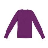 Пуловер V-шеи женщин фиолетовый, изолированный на белизне Стоковые Фотографии RF