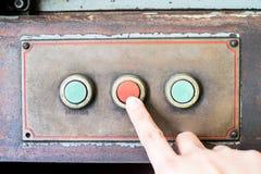 Пульт управления прессы пальца деревенский старой машины, объекта grunge Стоковая Фотография RF