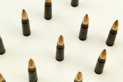 Пуля 7 пункта полости патрона винтовки Ak-47 урожай взгляд сверху 62x39mm плотный Стоковая Фотография RF