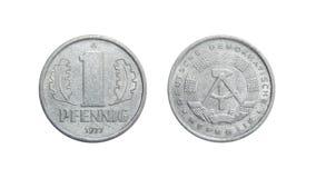 Пфенниг 1977 Германия монетки 1 - ГДР Стоковое Изображение RF