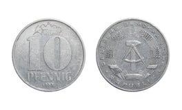 Пфенниг Германия монетки 10 - ГДР Стоковые Изображения