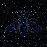 Пчела, драгоценные металлы оси на черной предпосылке с жемчугами иллюстрация вектора