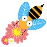 Пчела при цветки изолированные на белой предпосылке также вектор иллюстрации притяжки corel бесплатная иллюстрация