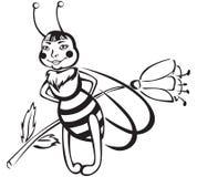 Пчела с цветком Стоковые Изображения