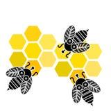 Пчелы при сот изолированный на белой предпосылке также вектор иллюстрации притяжки corel иллюстрация вектора