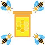 Пчелы при стекло денег изолированное на белой предпосылке также вектор иллюстрации притяжки corel иллюстрация штока