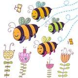 пчелы счастливые иллюстрация вектора