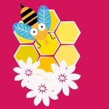 Пчелы с honeycombisolated на розовой предпосылке также вектор иллюстрации притяжки corel иллюстрация вектора