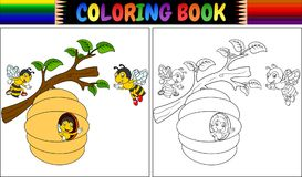 Пчелы шаржа книжка-раскраски Стоковые Изображения
