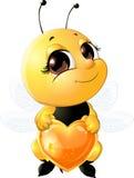 Пчела держа сердце Стоковые Фото