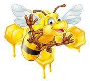Пчела и мед шаржа милая Стоковые Фото