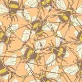 Пчела и смычок эскиза в винтажном стиле Стоковые Изображения