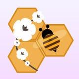 Пчела и цветки шаржа Стоковое фото RF
