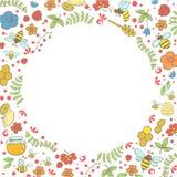 Пчела и цветки Doodle Карточка концепции весны Стоковые Изображения RF