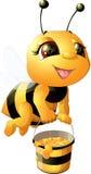 Пчела на белой предпосылке иллюстрация вектора