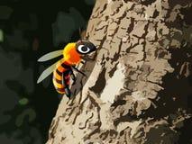 Пчела на дереве Стоковое Фото