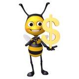 Пчела с долларом стоковое изображение rf