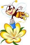 Пчела шаржа на цветке Стоковые Фото
