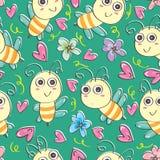 Пчелы безшовное Pattern_eps иллюстрация штока