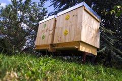 Пчелы летая в деревянную крапивницу на солнечный день Стоковое Фото