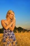 пшеница девушки поля Стоковые Изображения