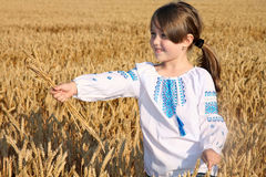 пшеница девушки поля Стоковое Изображение