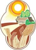 пшеница ландшафта ярлыка Стоковые Фотографии RF