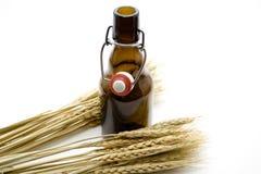 пшеница ушей коричневого цвета бутылки пива Стоковое Изображение RF