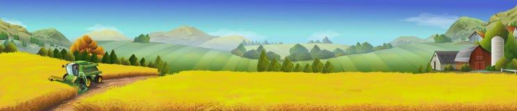 Пшеничное поле, сельский ландшафт иллюстрация штока