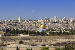 Пышная панорама Иерусалима. Купол утеса и купол  Стоковое Фото