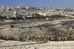 Пышная панорама Иерусалима. Купол утеса и купол  Стоковые Фотографии RF