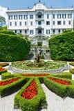 Пышный парк с фонтанами (виллой Carlotta, Com Италии, озера Стоковые Фото