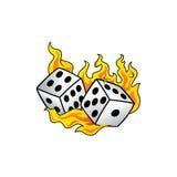 Пылать на искусстве азартной игры любителя рисков кости огня горя белом иллюстрация штока