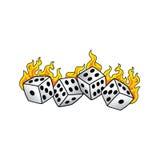 Пылать на искусстве азартной игры любителя рисков кости огня горя белом Стоковые Фото