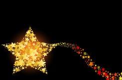 Пылая абстрактная звезда золота стрельбы кометы Стоковые Изображения