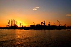 Пылая заход солнца на моле 2 Стоковое Изображение RF