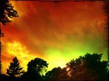 пылая заход солнца Стоковое фото RF