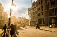 Пылевоздушные улицы Катманду Стоковая Фотография RF