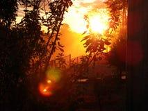 Пылевоздушный заход солнца с ясным небом Стоковое фото RF