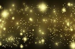 Пыль pixie влияния золота на черноте Стоковая Фотография RF