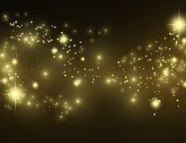Пыль pixie влияния золота на черноте Стоковые Фото