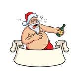 Пьяная выпивка Санта Клауса выпивая Вектор поздравительной открытки рождества иллюстрация штока