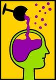 Пьяная голова будучи заполнянным бокалом вина Стоковое Изображение