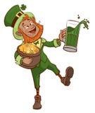 Пьяная потеха Патрик держит горшок с золотом и стекло зеленого пива иллюстрация штока