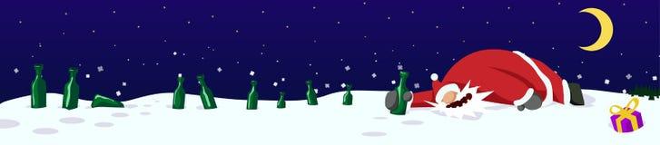 Пьяное знамя Санта Клауса иллюстрация штока