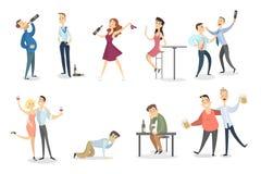 Пьяный комплект людей бесплатная иллюстрация